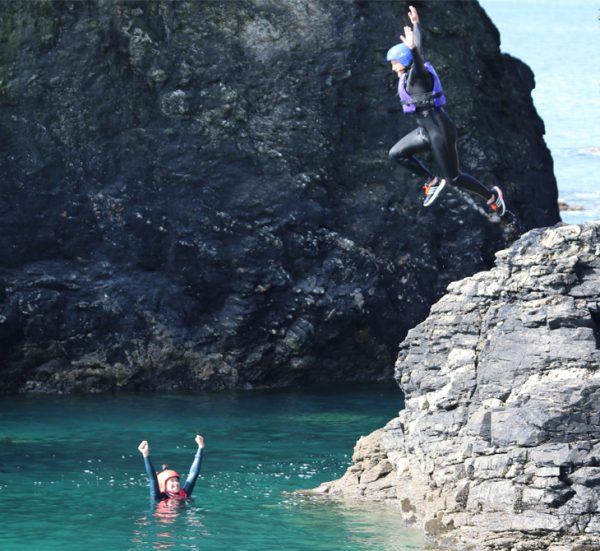 Group coasteering session at Praa Sands