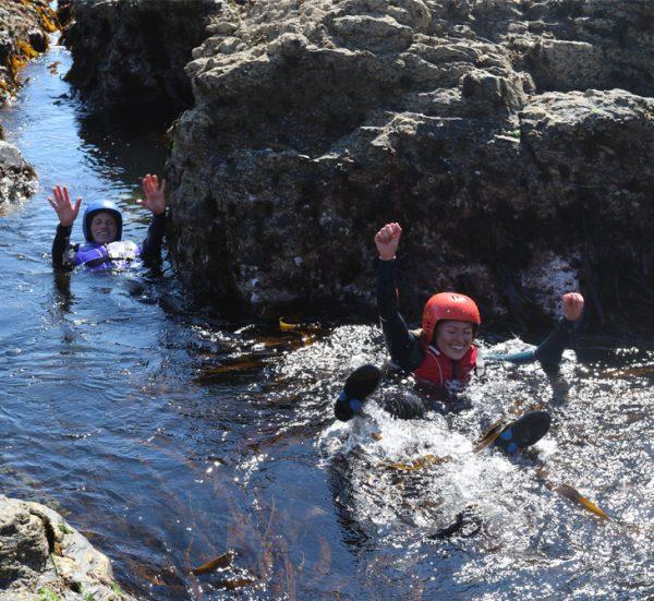 Group Coasteering in Cornwall.