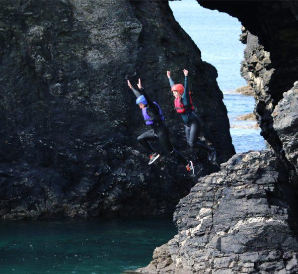 Group Coasteering in Cornwall